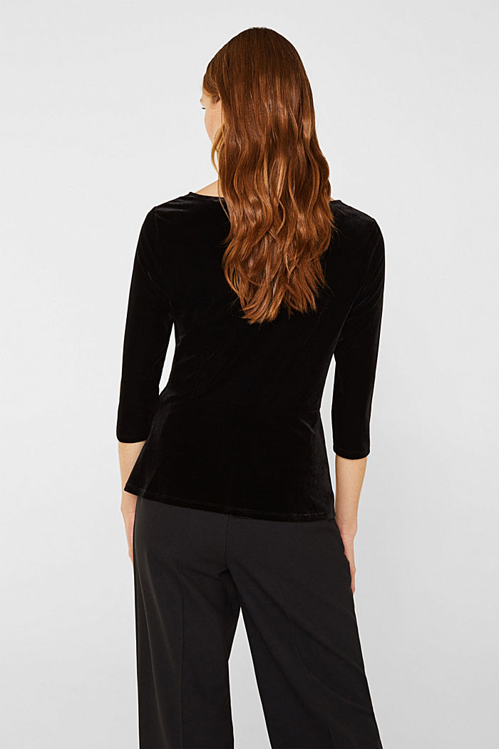 Stretch velvet T-shirt with a draped effect, BLACK, detail image number 3