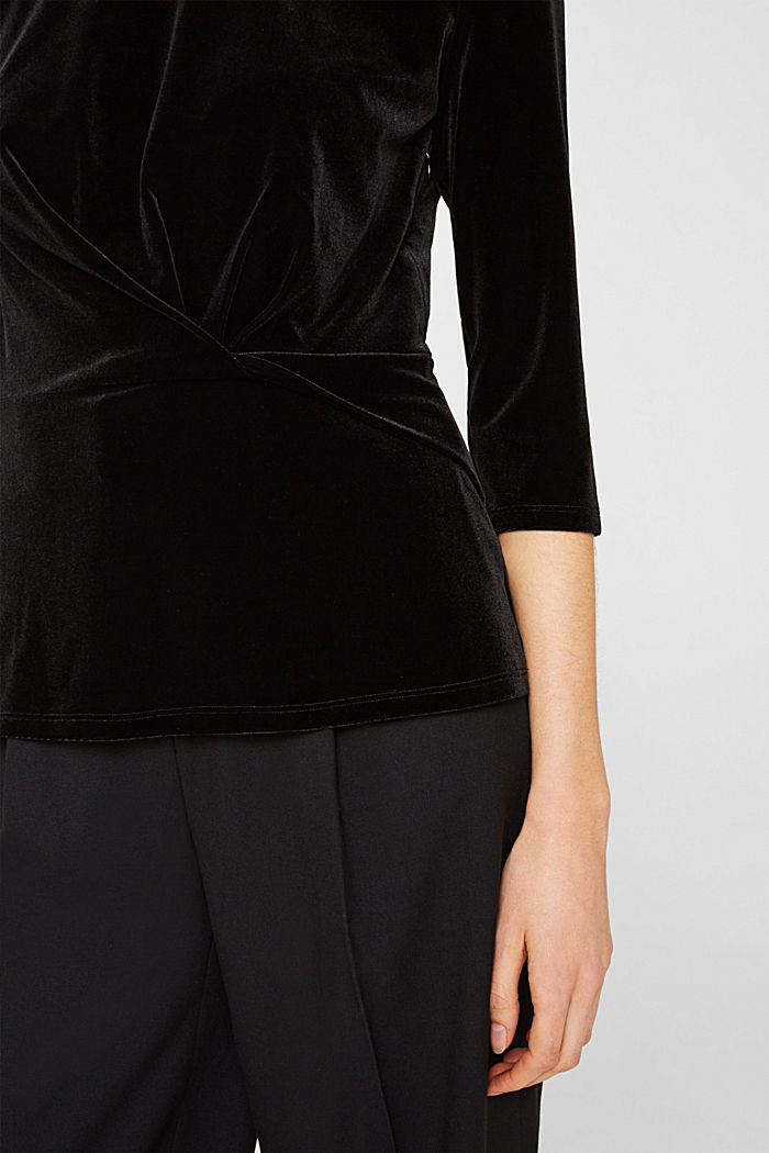 Stretch velvet T-shirt with a draped effect, BLACK, detail image number 2