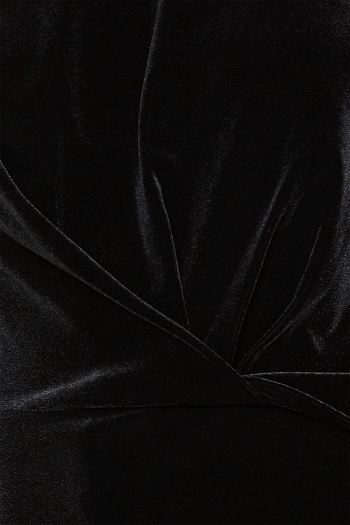 Stretch velvet T-shirt with a draped effect, BLACK, detail image number 4