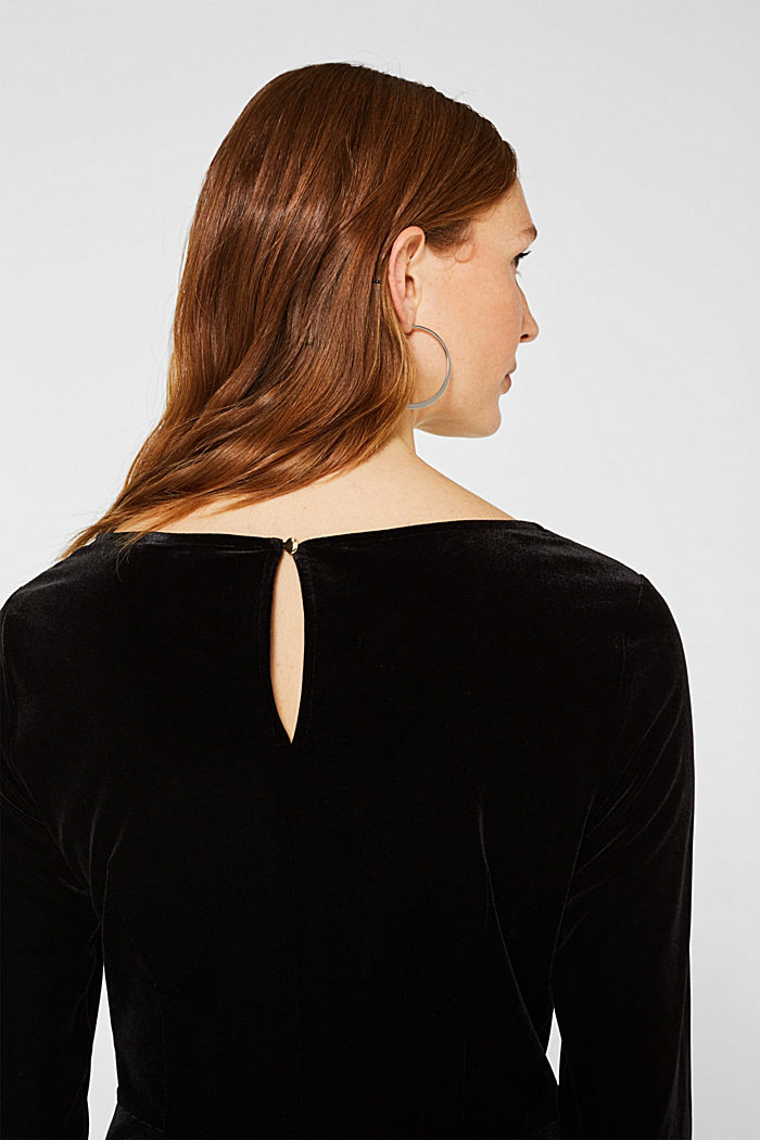 Stretch velvet T-shirt with a draped effect, BLACK, detail image number 5
