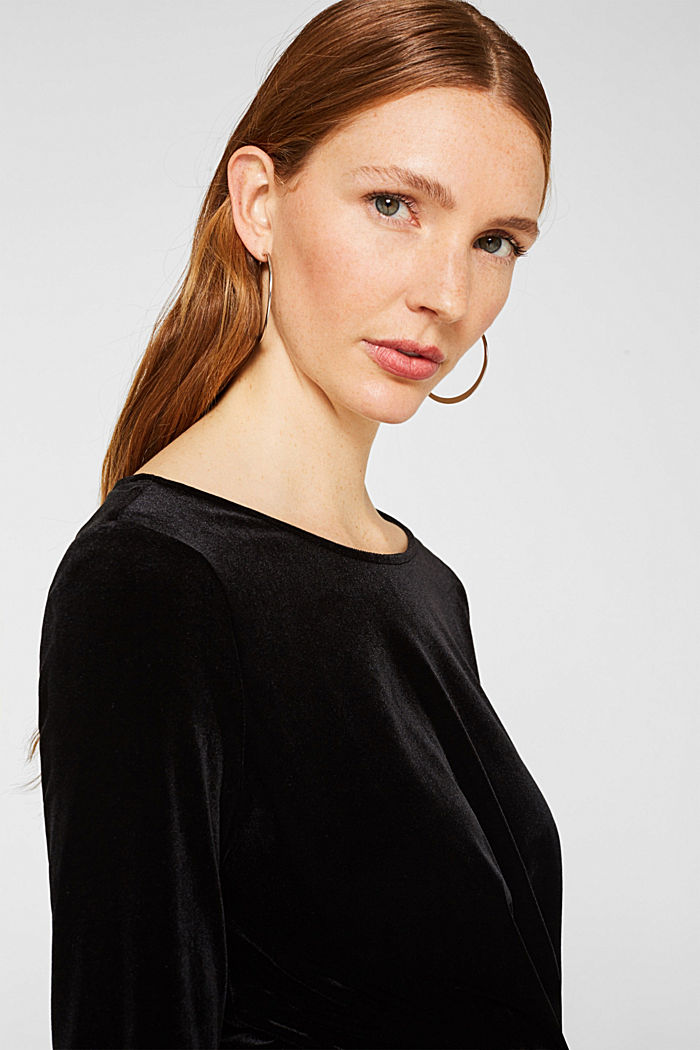 Stretch velvet T-shirt with a draped effect, BLACK, detail image number 6