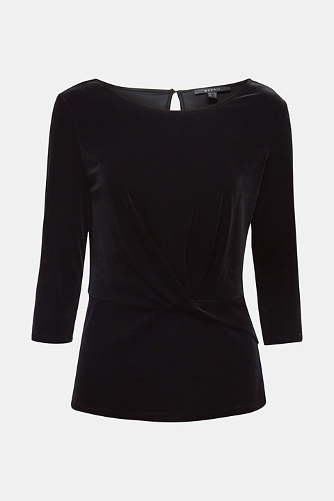 Stretch velvet T-shirt with a draped effect