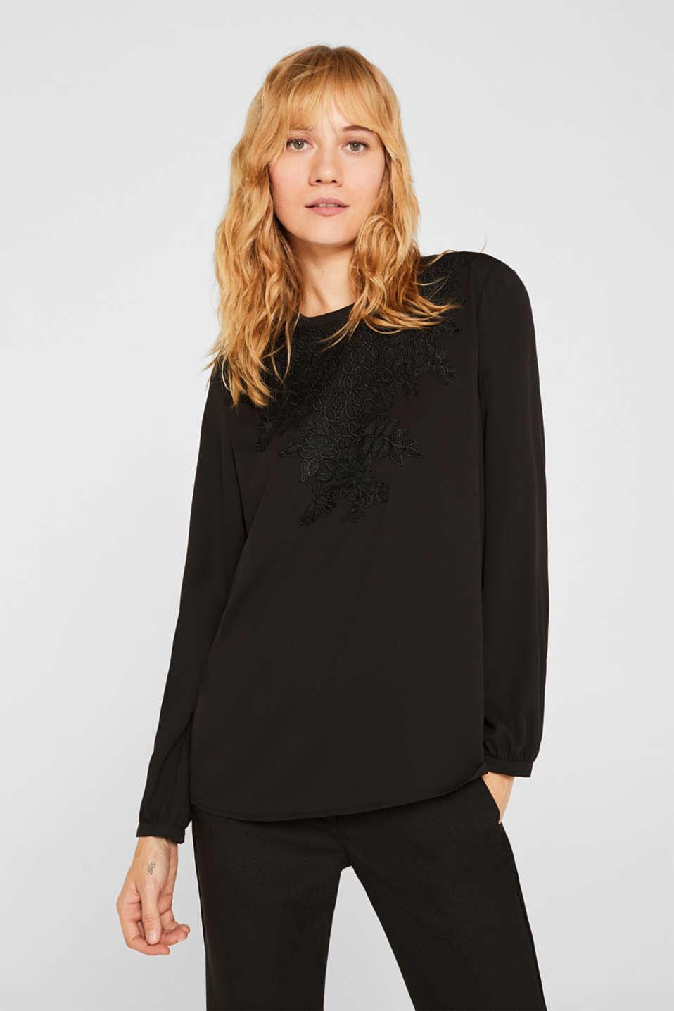Blouse with a floral lace appliqué, BLACK, detail image number 0