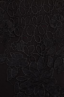 Blouse with a floral lace appliqué, BLACK, detail