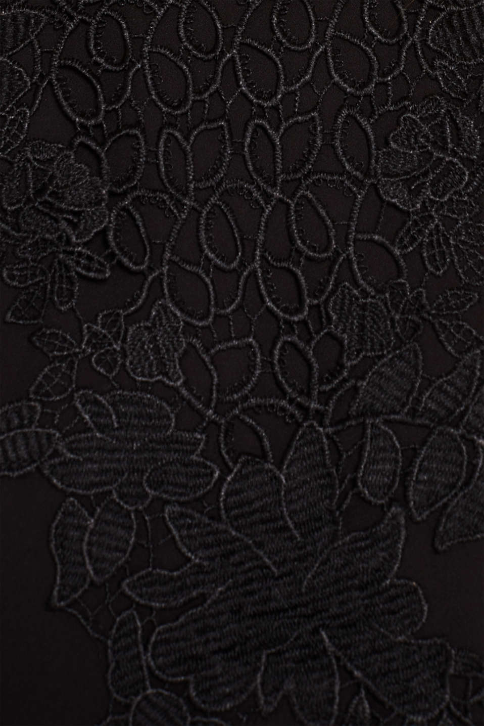 Blouse with a floral lace appliqué, BLACK, detail image number 4
