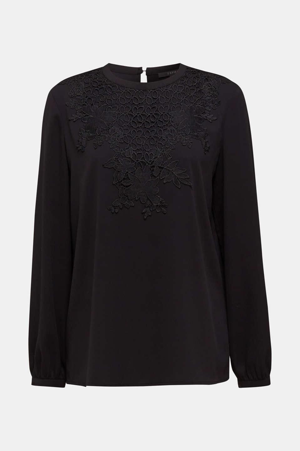Blouse with a floral lace appliqué, BLACK, detail image number 5