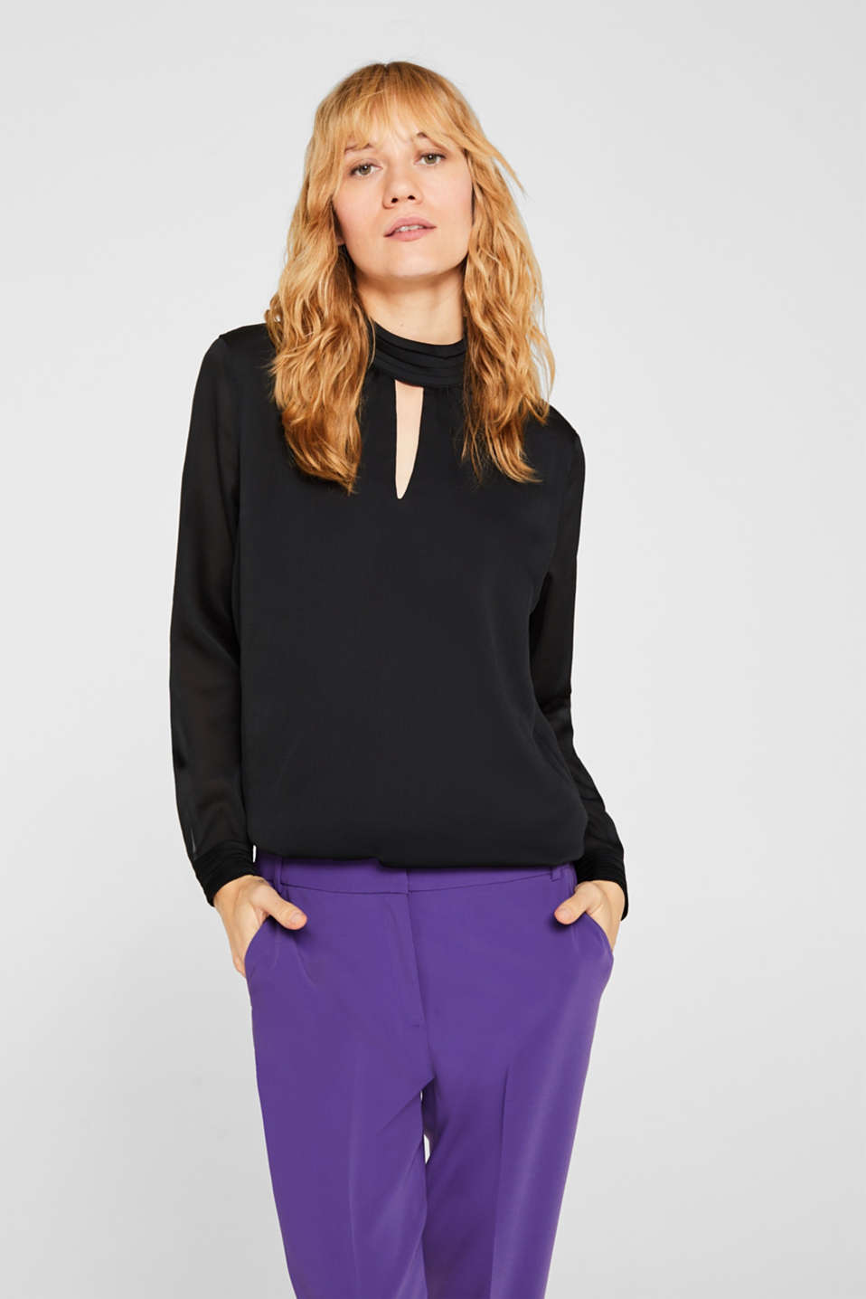 Textured chiffon blouse with a stand-up collar, BLACK, detail image number 0