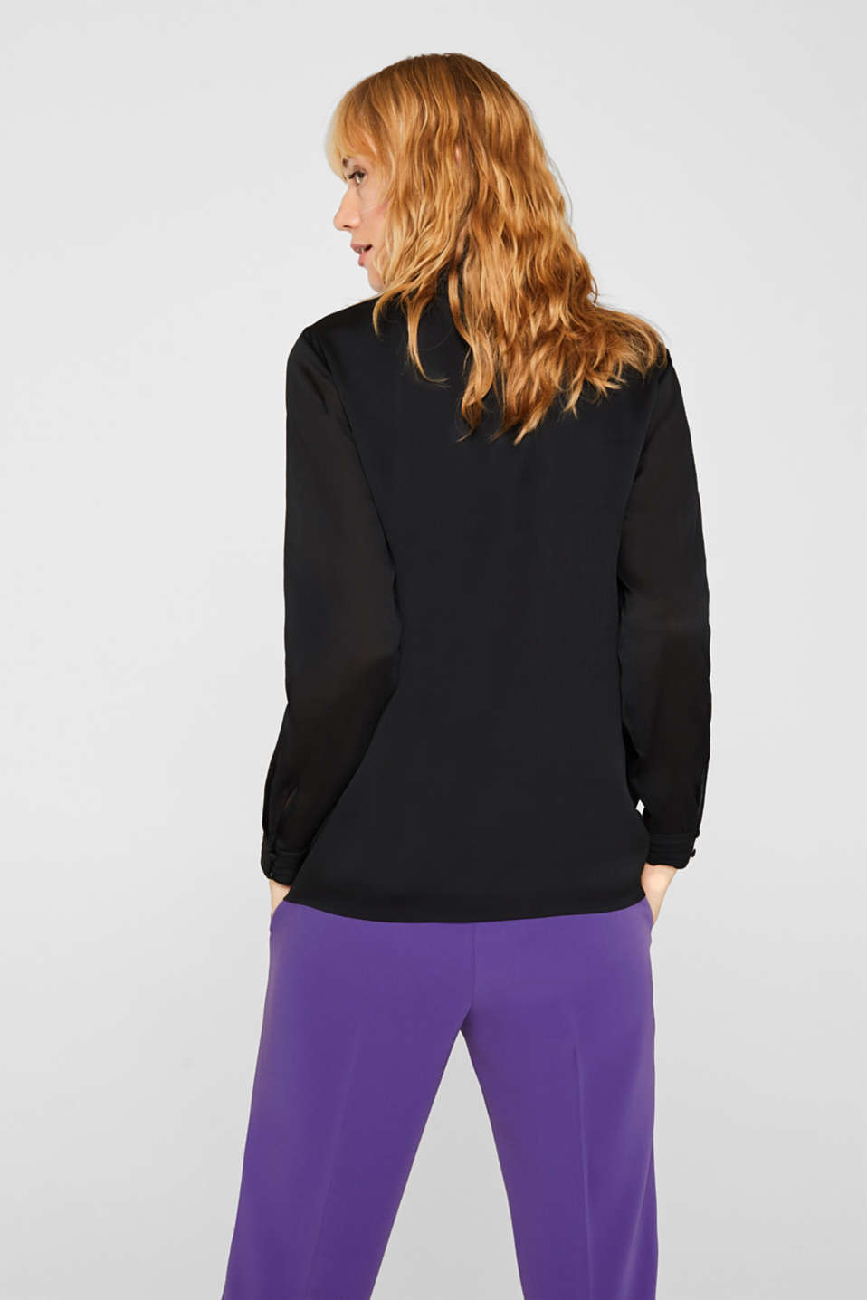 Textured chiffon blouse with a stand-up collar, BLACK, detail image number 3
