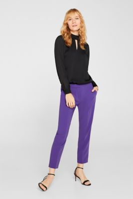 Textured chiffon blouse with a stand-up collar, BLACK, detail