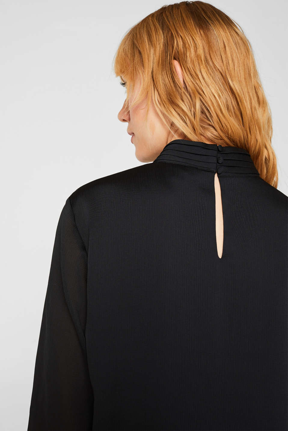 Textured chiffon blouse with a stand-up collar, BLACK, detail image number 5