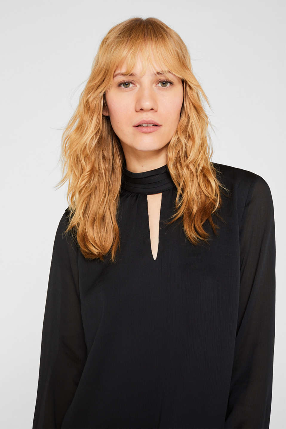 Textured chiffon blouse with a stand-up collar, BLACK, detail image number 6
