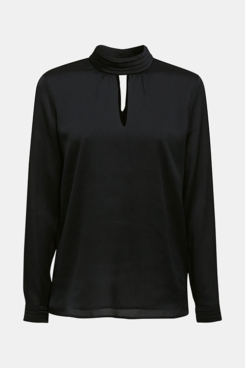 Textured chiffon blouse with a stand-up collar