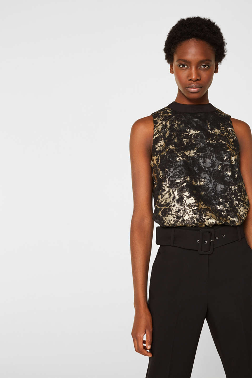 Plumetti top with a metallic print, BLACK, detail image number 0