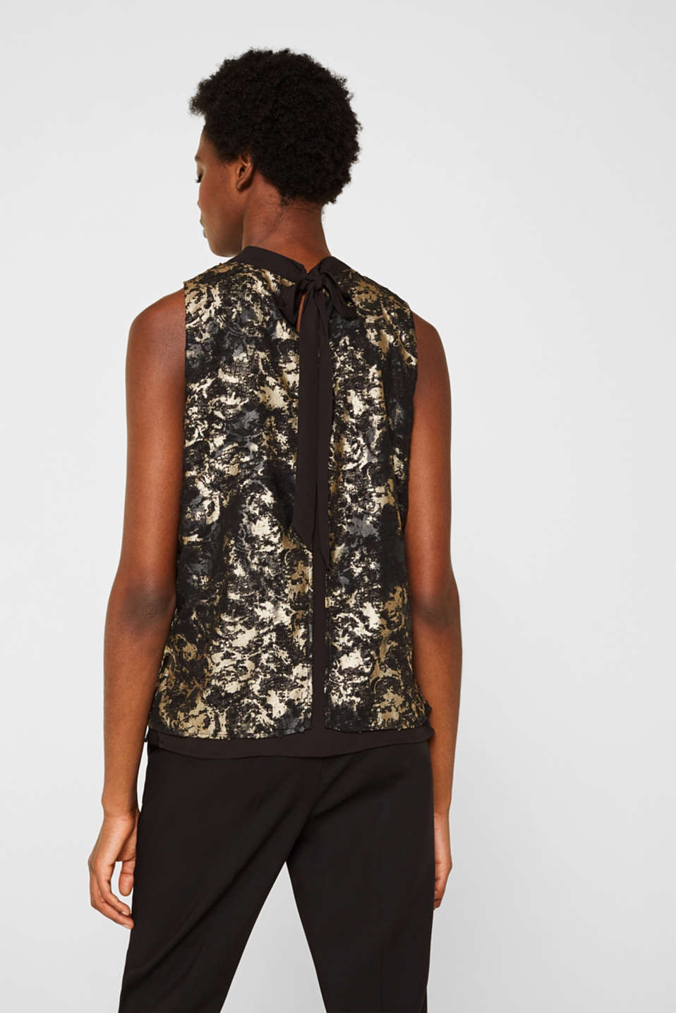 Plumetti top with a metallic print, BLACK, detail image number 3