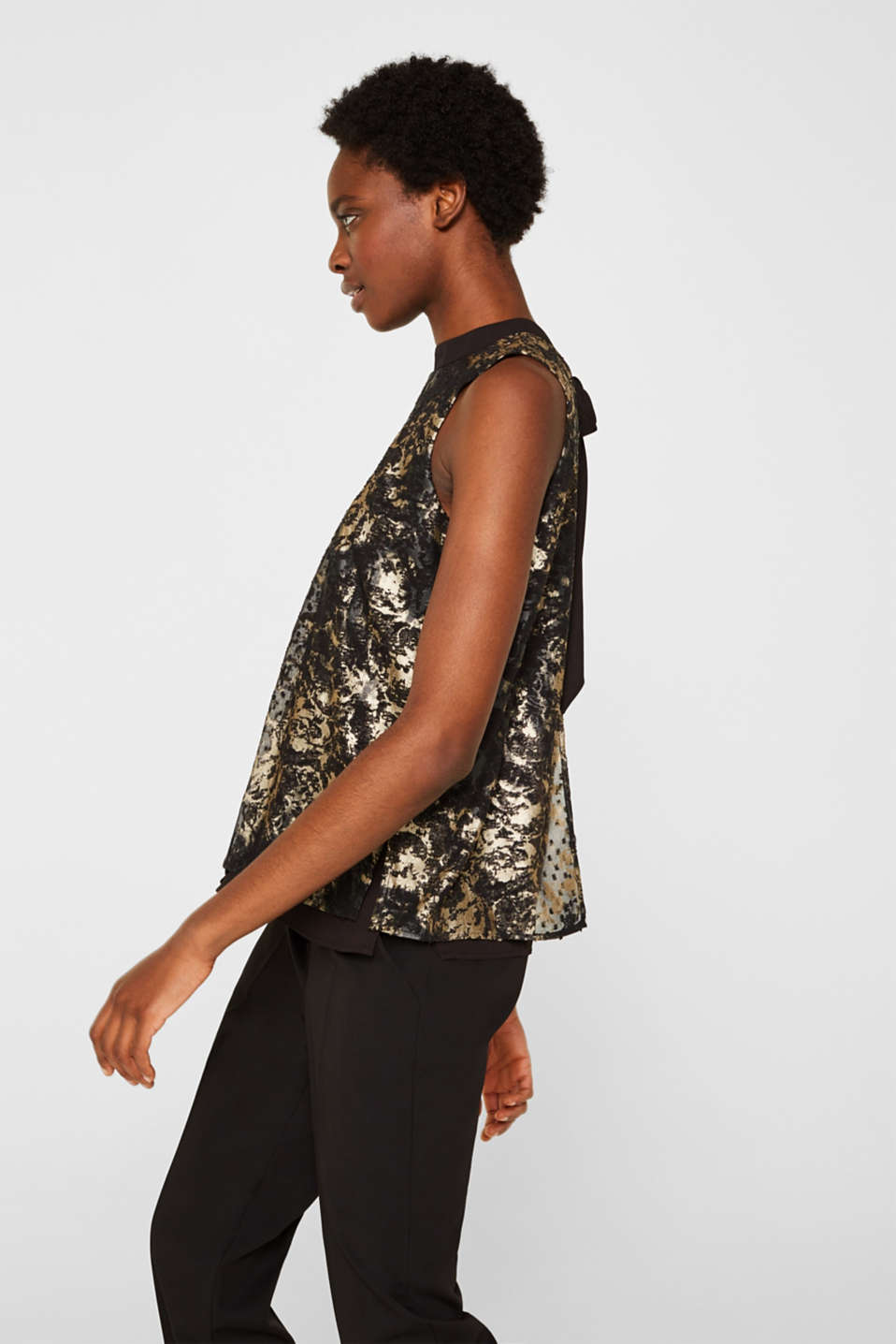 Plumetti top with a metallic print, BLACK, detail image number 6