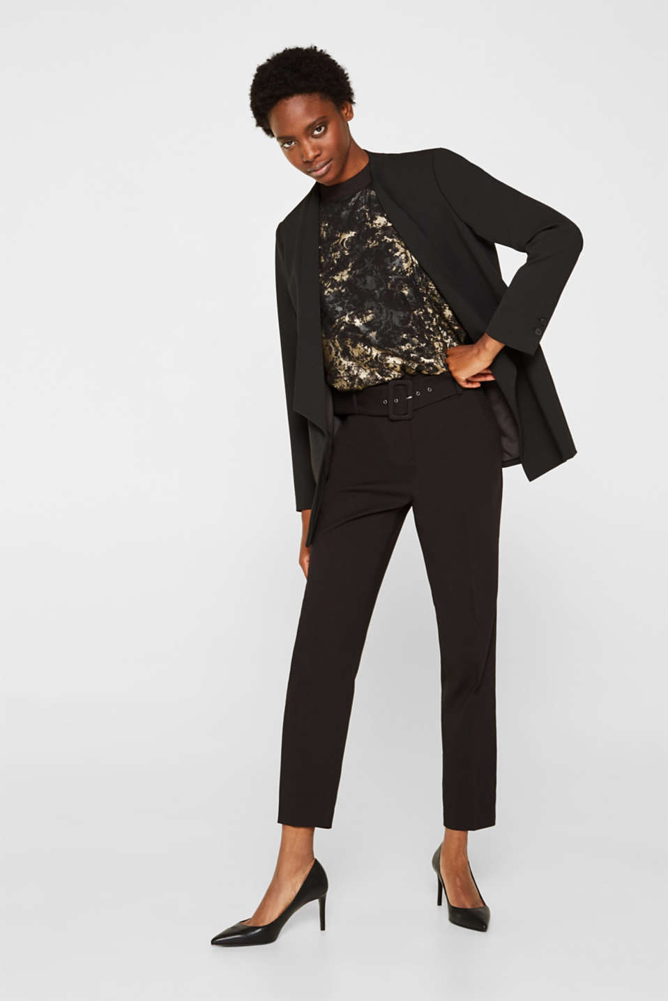 Plumetti top with a metallic print, BLACK, detail image number 1