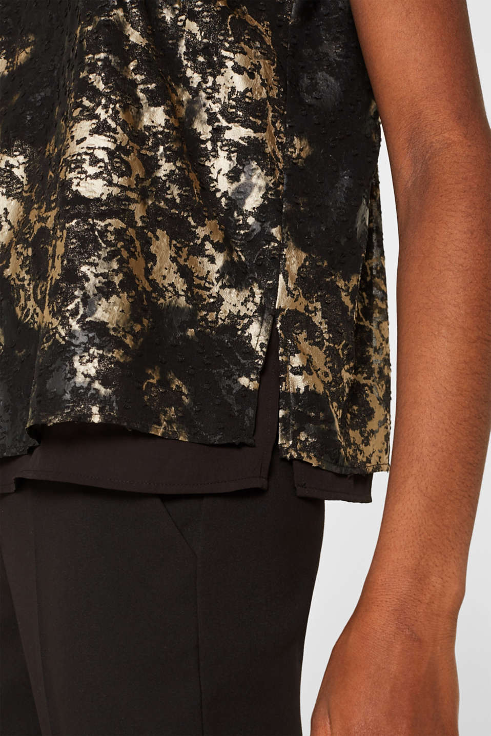 Plumetti top with a metallic print, BLACK, detail image number 2