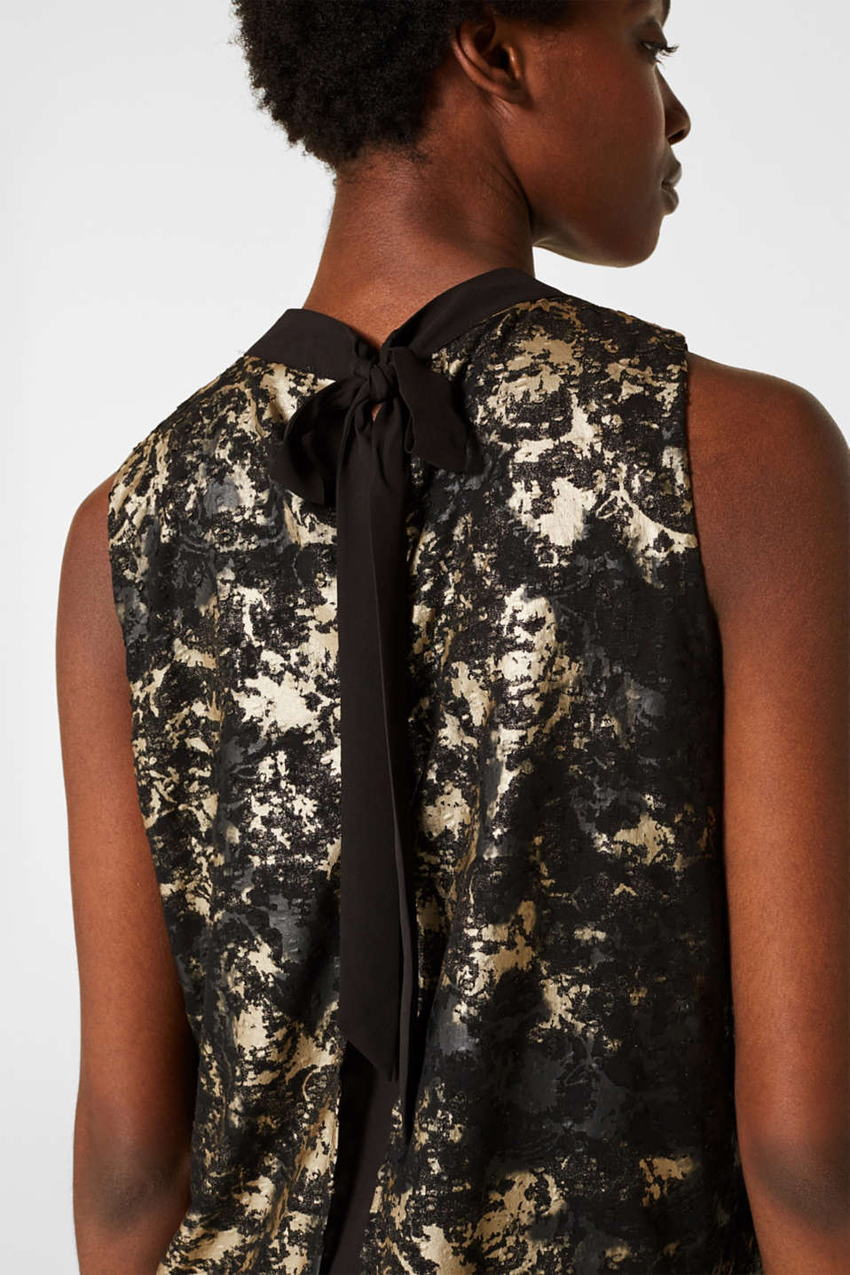Plumetti top with a metallic print, BLACK, detail image number 5