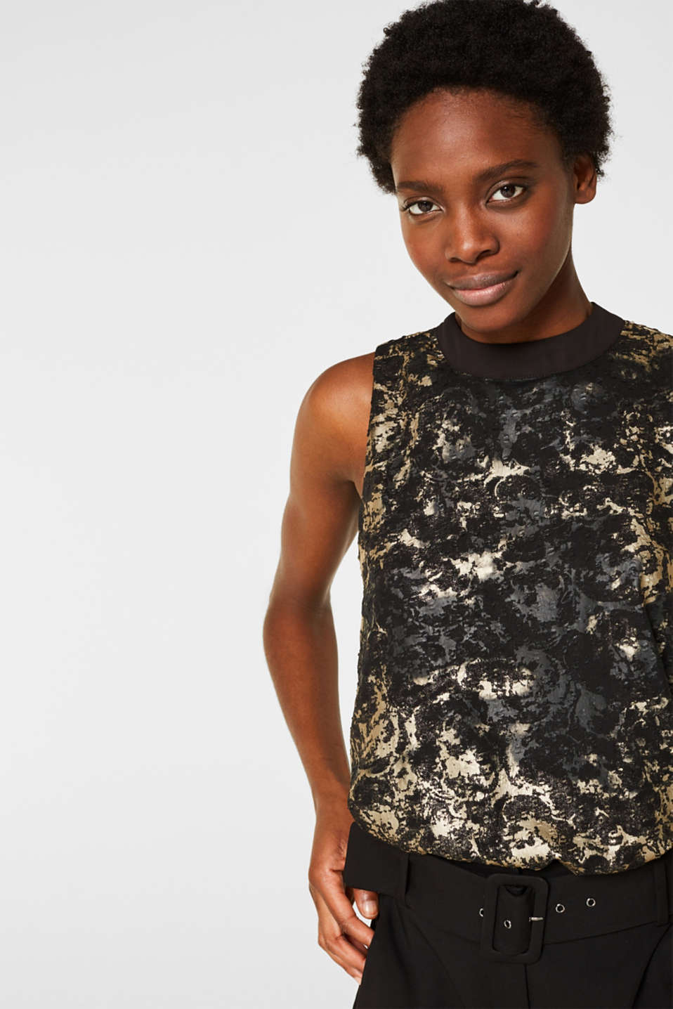 Plumetti top with a metallic print, BLACK, detail image number 7