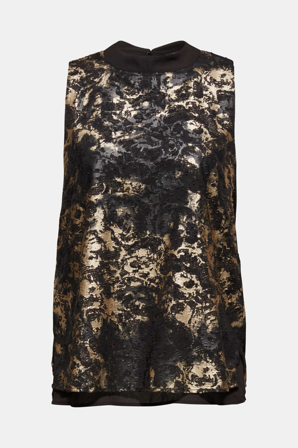 Plumetti top with a metallic print, BLACK, detail image number 8