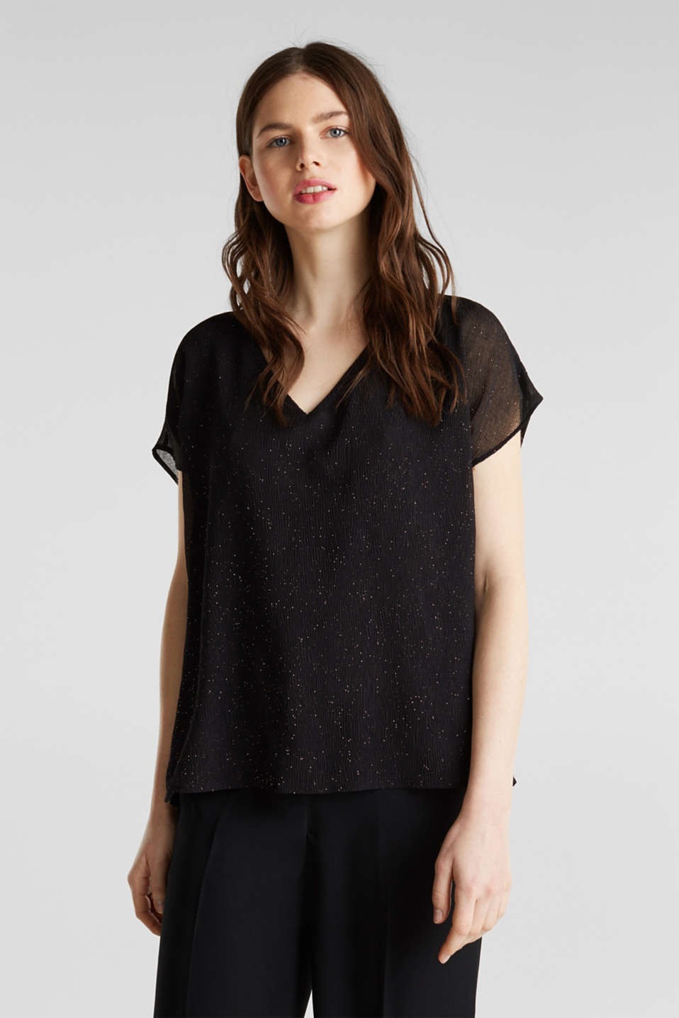 Glittering crinkle blouse top, BLACK, detail image number 0