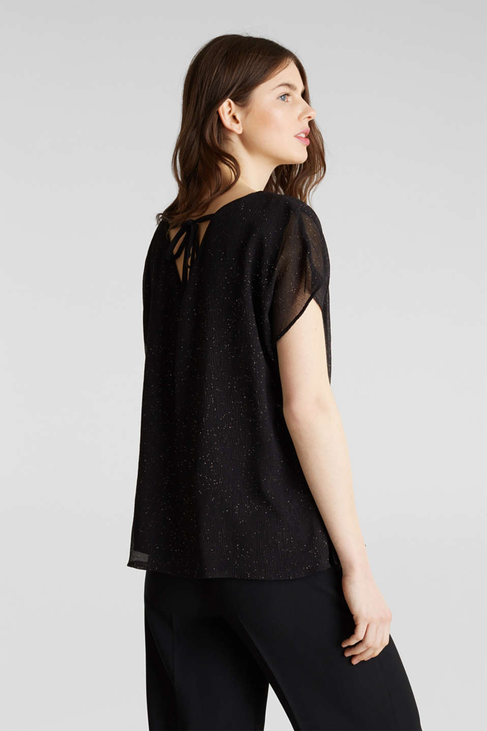 Glittering crinkle blouse top, BLACK, detail image number 2