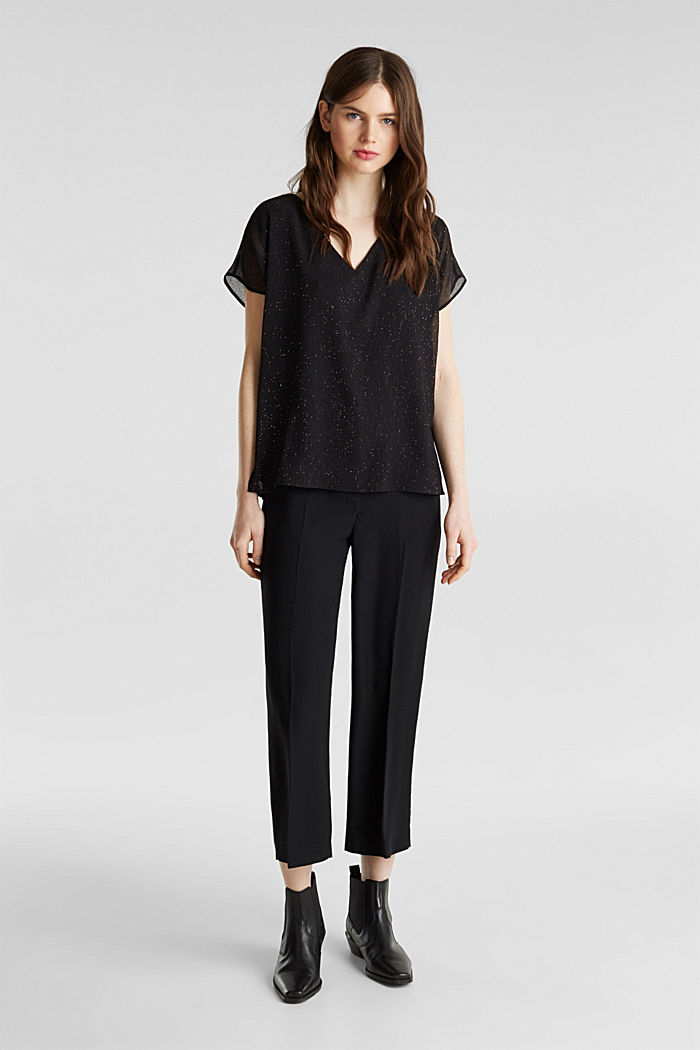 Glittering crinkle blouse top, BLACK, detail image number 1