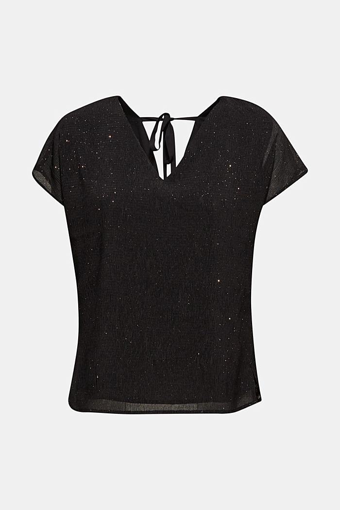 Glittering crinkle blouse top, BLACK, detail image number 6