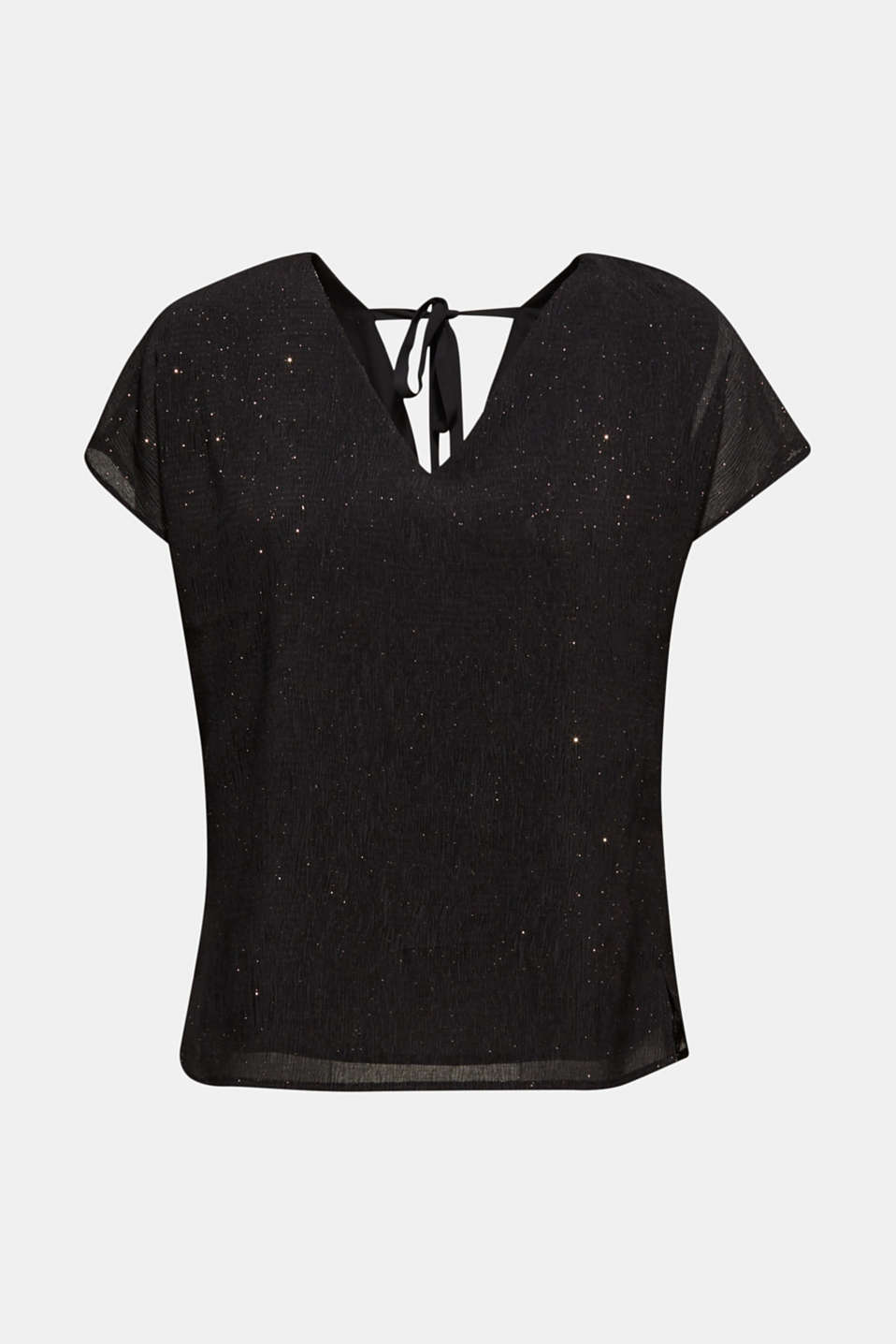 Glittering crinkle blouse top, BLACK, detail image number 6