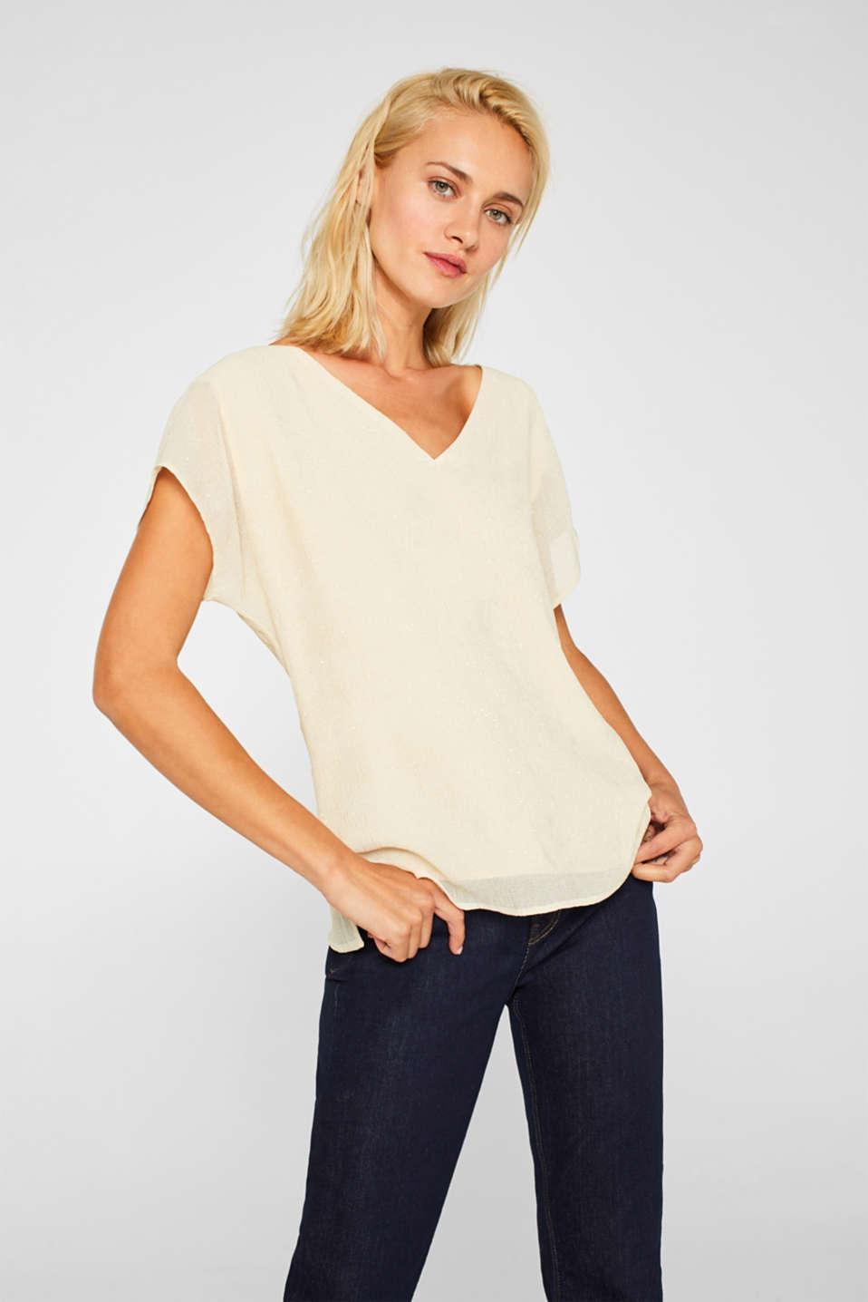 Glittering crinkle blouse top, SAND, detail image number 0