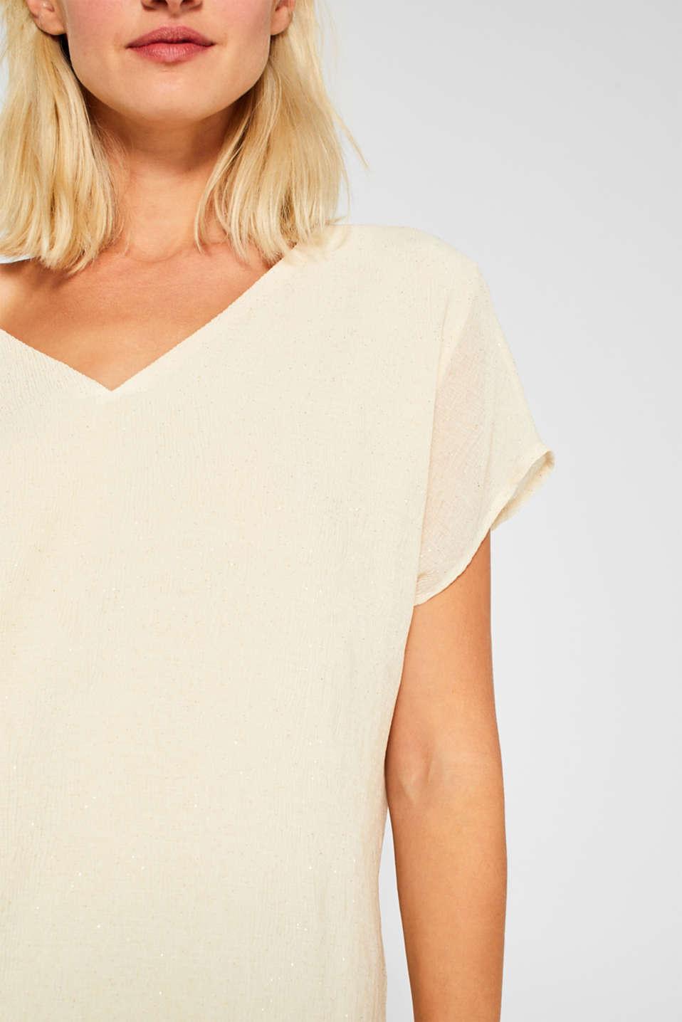 Glittering crinkle blouse top, SAND, detail image number 2