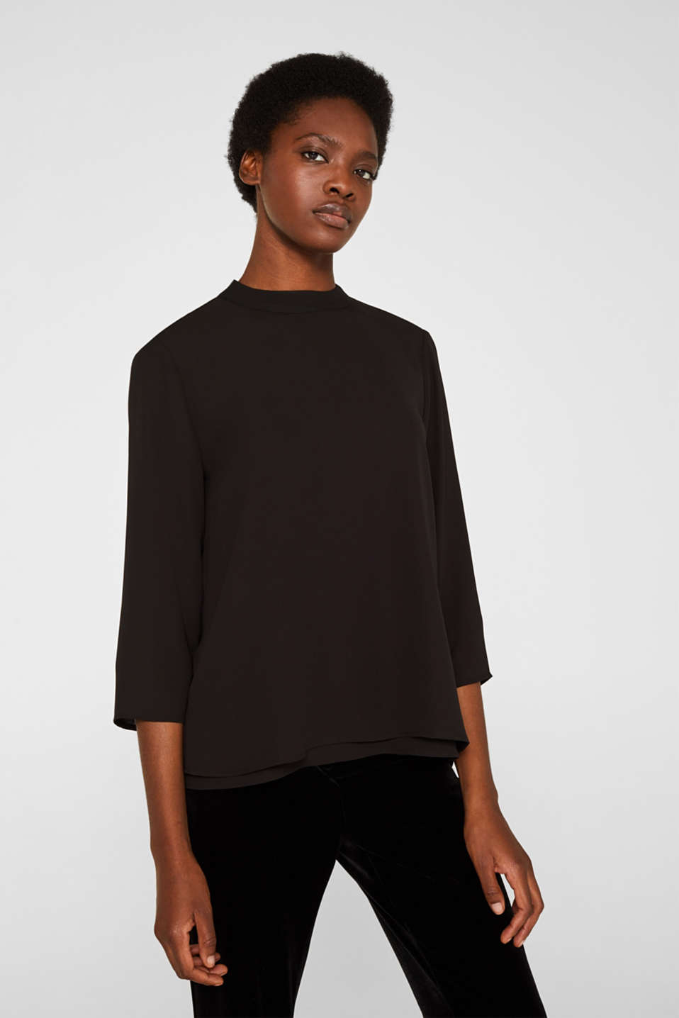 Chiffon blouse with a layered detail, BLACK, detail image number 0