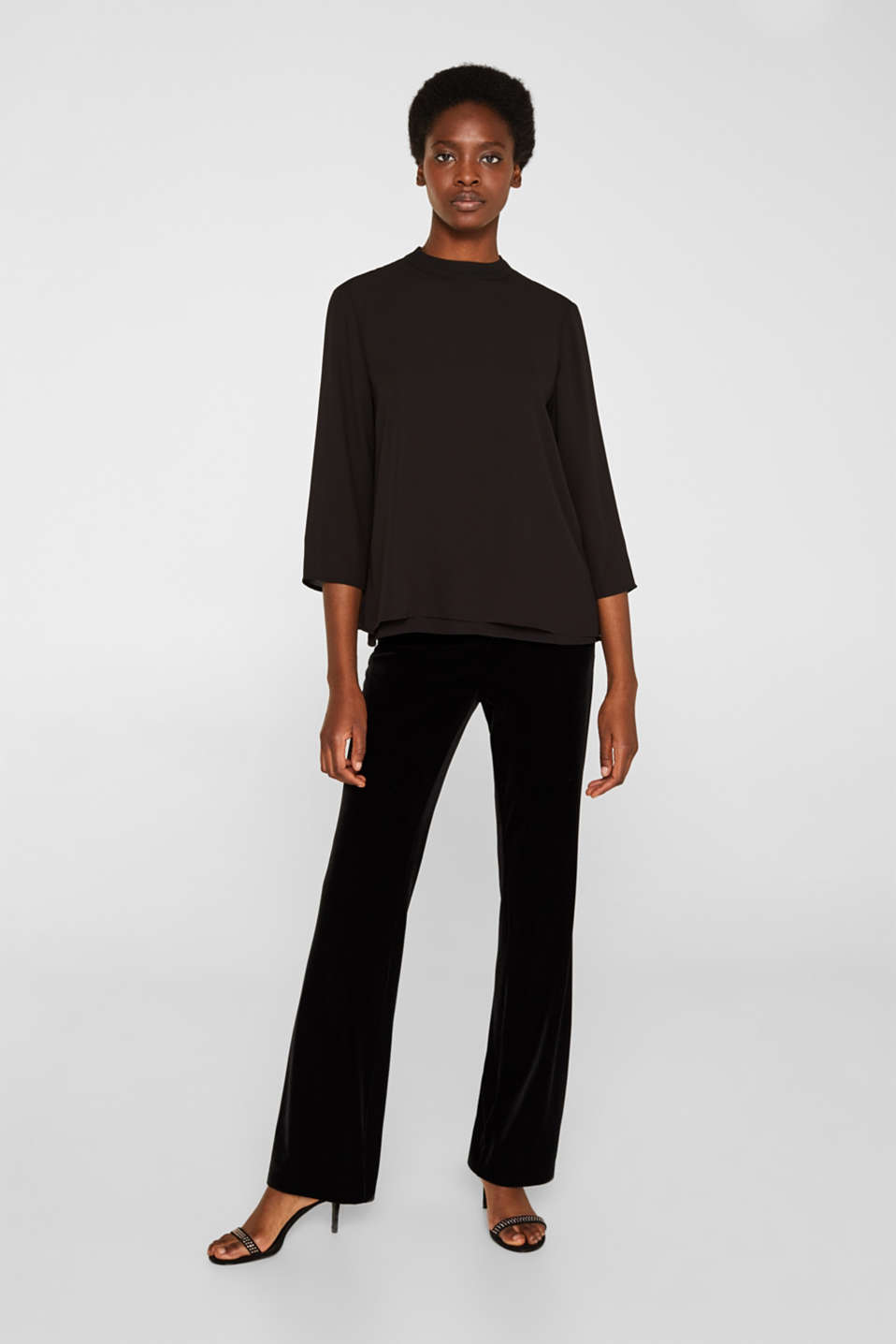 Chiffon blouse with a layered detail, BLACK, detail image number 1