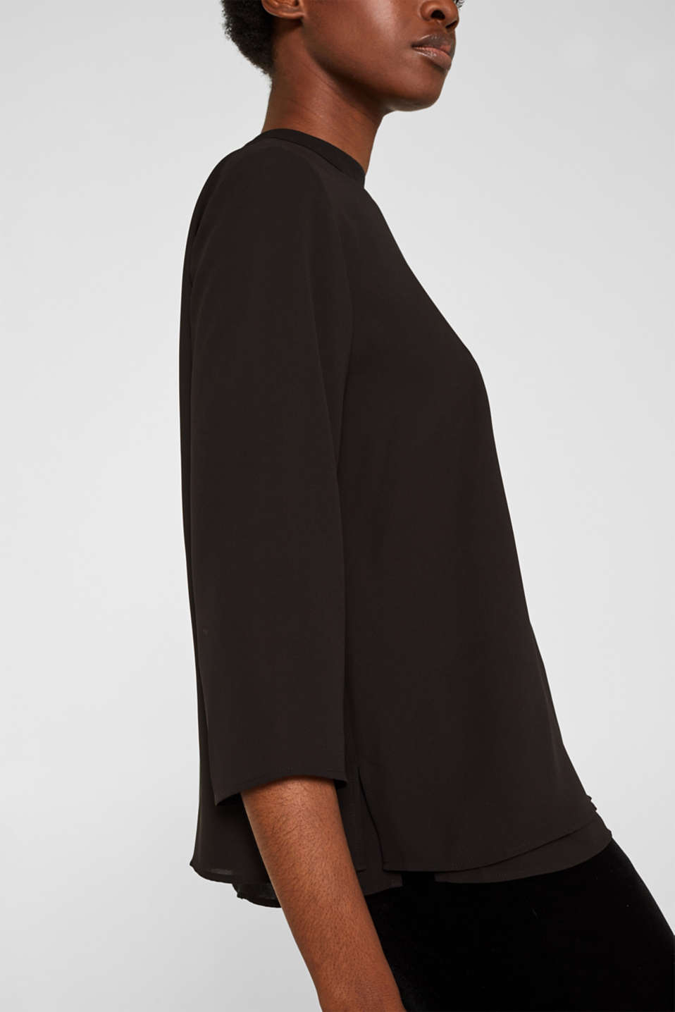 Chiffon blouse with a layered detail, BLACK, detail image number 2