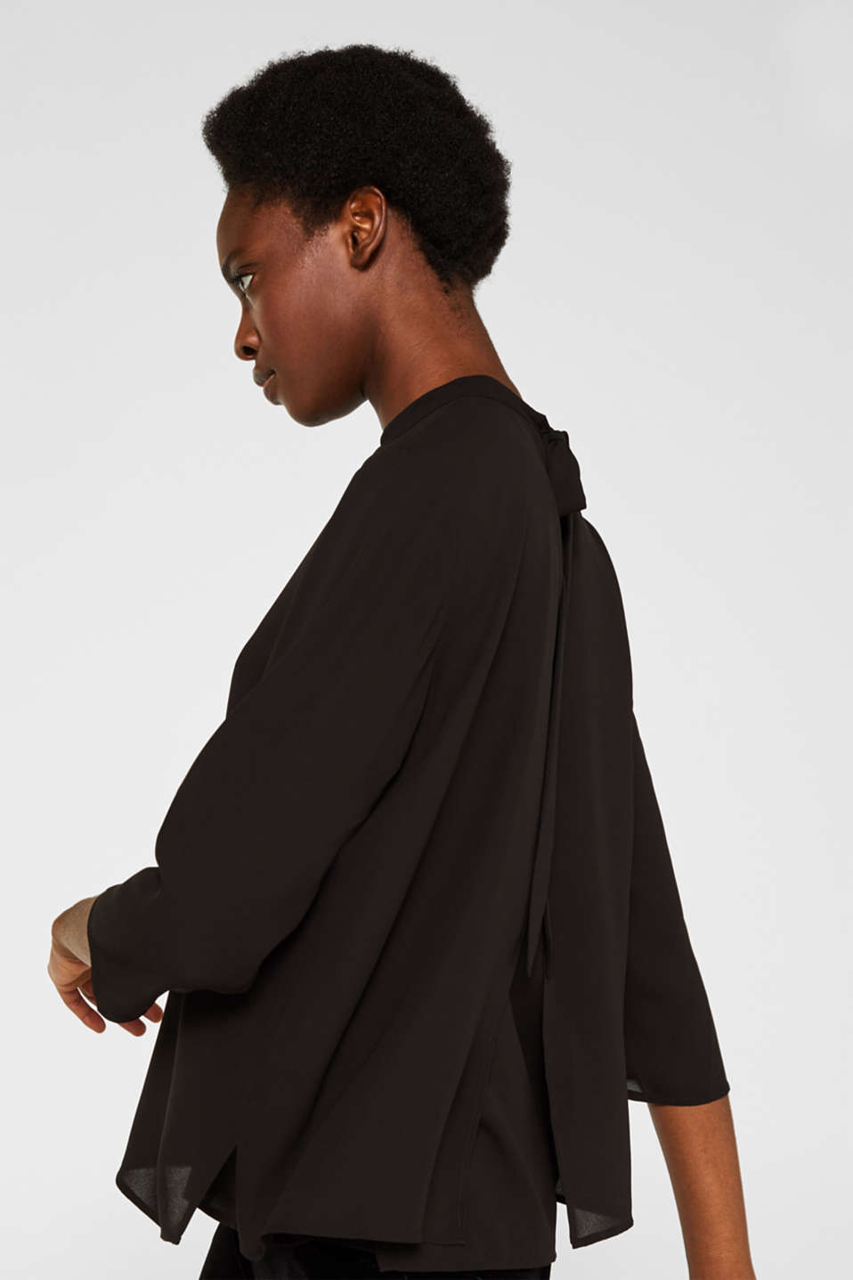 Chiffon blouse with a layered detail, BLACK, detail image number 5