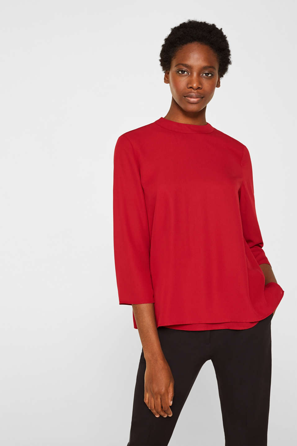 Chiffon blouse with a layered detail, DARK RED, detail image number 0