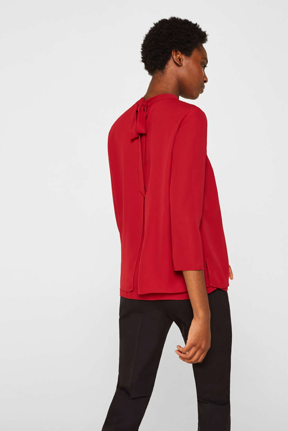 Chiffon blouse with a layered detail, DARK RED, detail image number 3