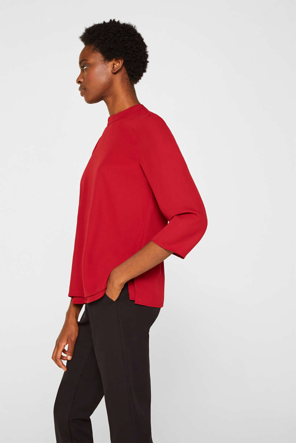 Chiffon blouse with a layered detail, DARK RED, detail image number 6