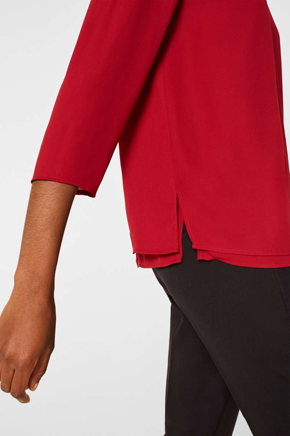 Chiffon blouse with a layered detail, DARK RED, detail image number 5