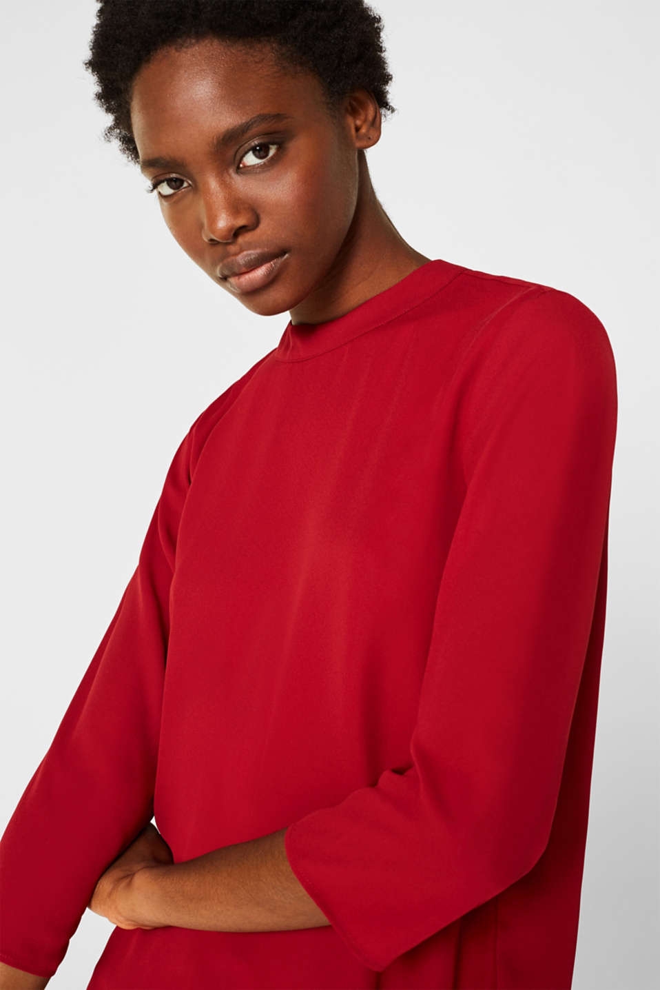 Chiffon blouse with a layered detail, DARK RED, detail image number 7