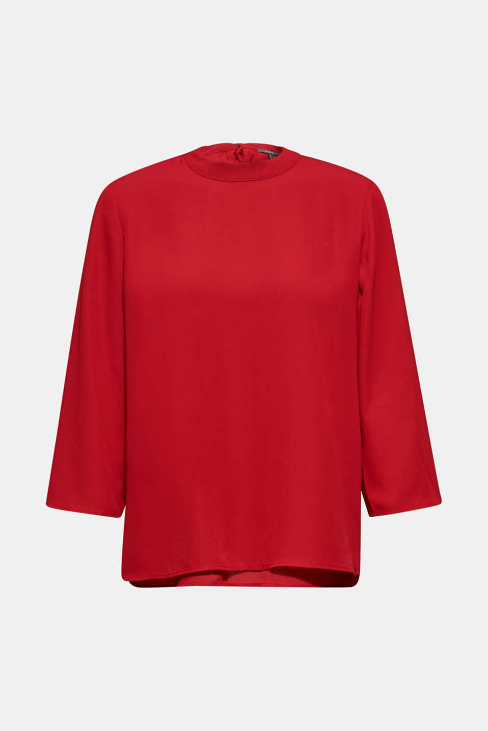 Chiffon blouse with a layered detail, DARK RED, detail image number 8