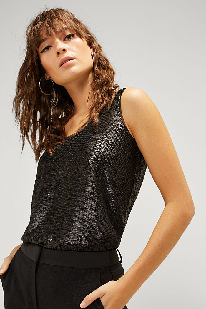 Sequin top with a chiffon layer, BLACK, detail image number 0