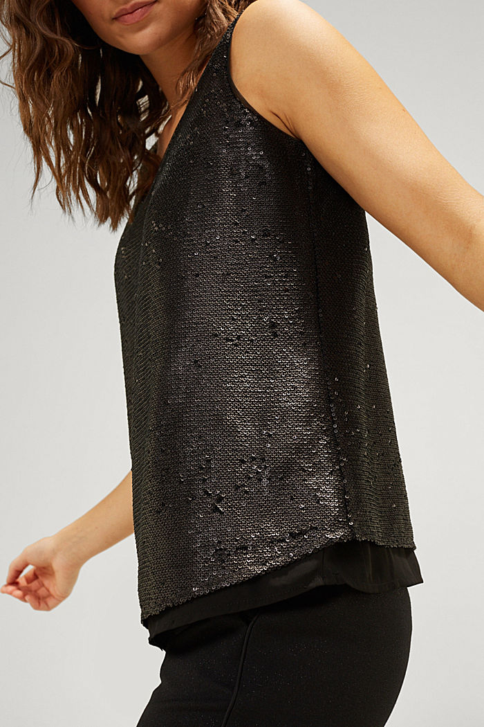 Sequin top with a chiffon layer, BLACK, detail image number 2