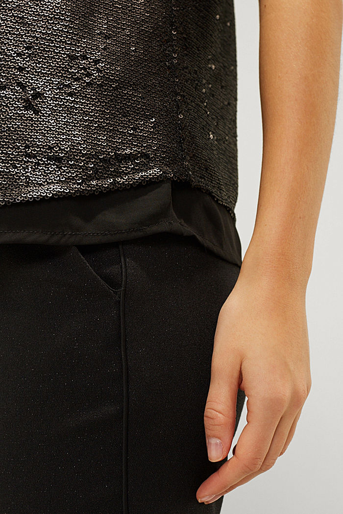 Sequin top with a chiffon layer, BLACK, detail image number 6