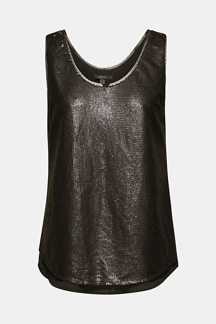 Sequin top with a chiffon layer, BLACK, detail image number 7