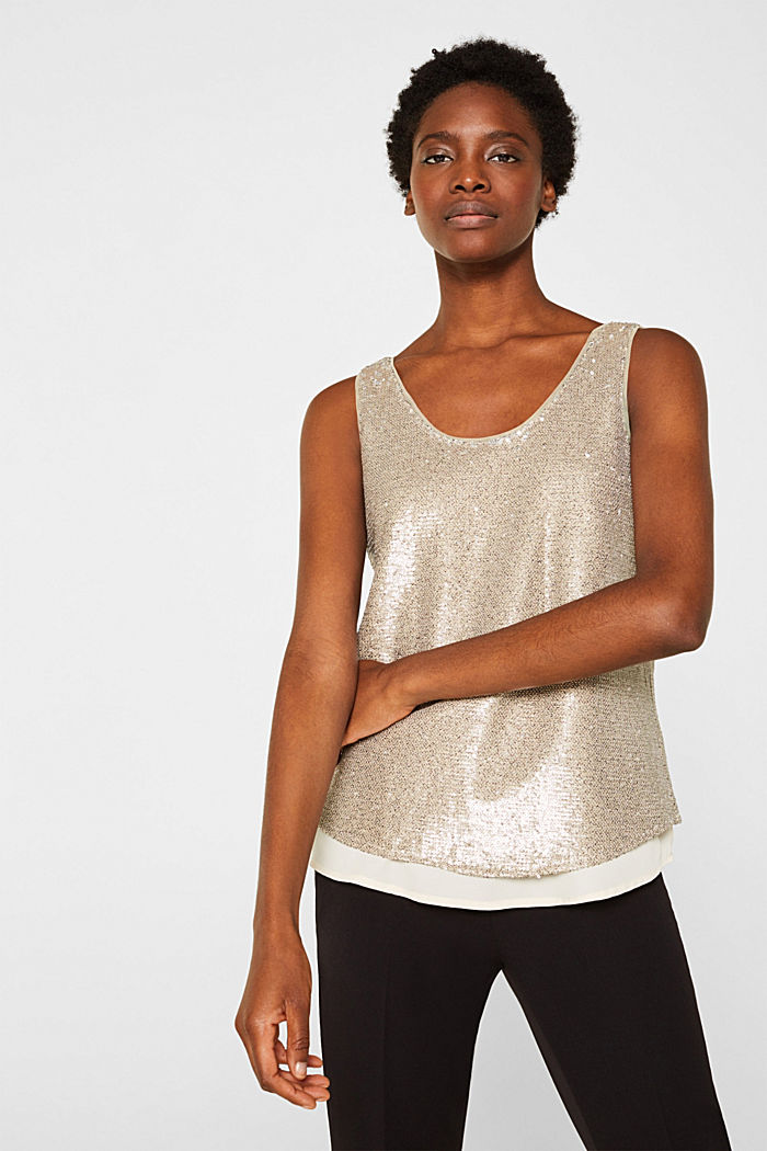 Sequin top with a chiffon layer, CREAM BEIGE, detail image number 0