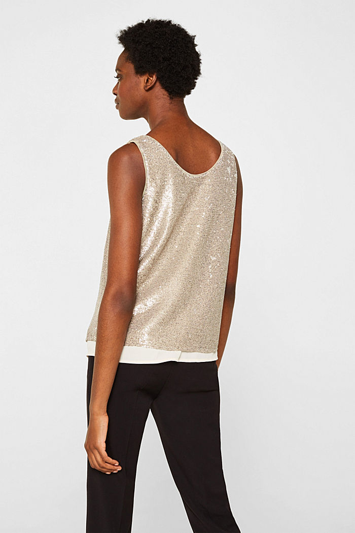 Sequin top with a chiffon layer, CREAM BEIGE, detail image number 3