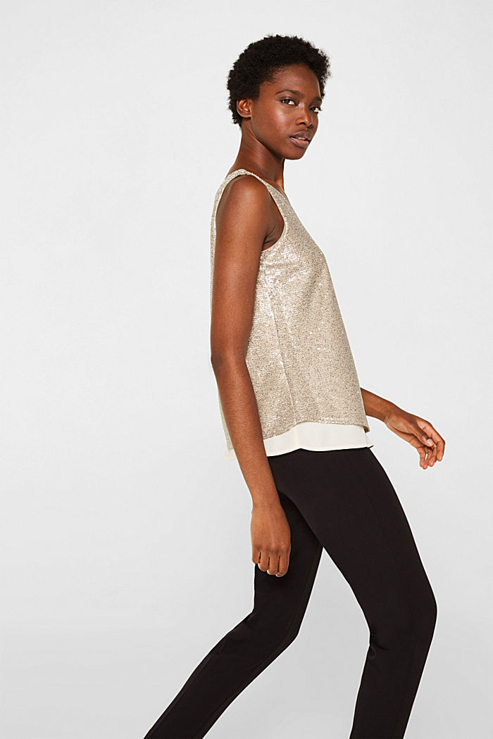 Sequin top with a chiffon layer, CREAM BEIGE, detail image number 5