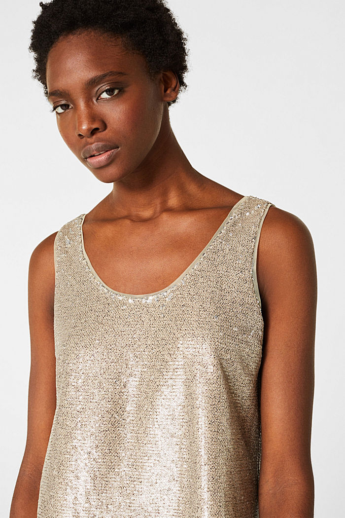 Sequin top with a chiffon layer, CREAM BEIGE, detail image number 6