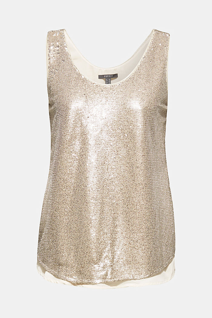 Sequin top with a chiffon layer, CREAM BEIGE, detail image number 7